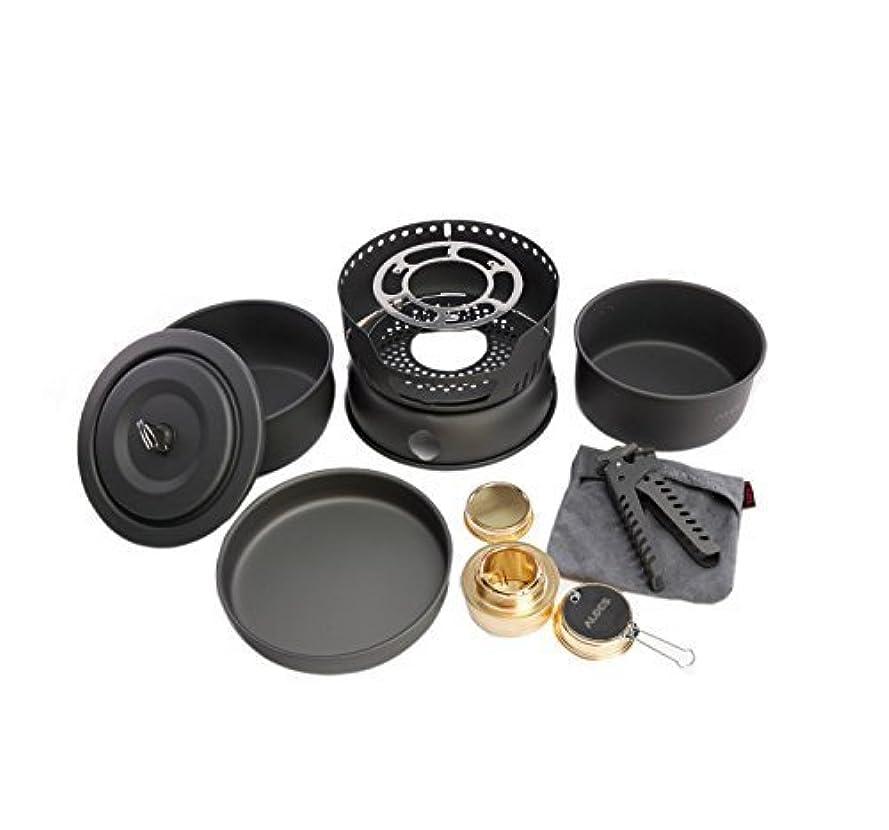 スキルゆるくブランチAlocs CW-C05 10個ポータブル屋外キャンプクッキングセット調理器具2-4人のピクニックポットパンアルコールストーブ