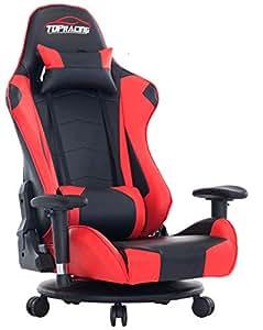 TOPRACING ゲーミング座椅子 360度回転 ゲーミングチェア155度リクライニング ハイバック 可動肘 ヘッドレスト クッション付き キャスター付き(赤)