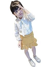 REILI 子供服 2点セット 女の子 春 秋 レース長袖シャツ マーメイドスカート 可愛い おしゃれ 結婚式 発表会 撮影 旅行 ガールズ イエローハーフスカート 2点セット