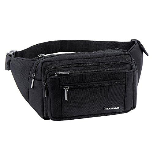 AUOPLUS ウエストバッグ 多機能収納バッグ 5ポケット 防水 大容量 軽量 ヒップバッグ スマホ/タブレット/ノート等収納可能 イヤホン穴付き 旅行/仕事/アウトドアに対応