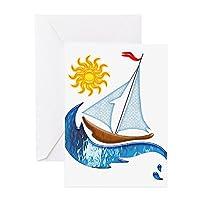 CafePress–ヨットOcean and Sunグリーティングカード–グリーティングカード、注意カード、誕生日カード、空白内側光沢
