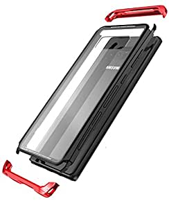 【M&Y】Galaxy Note8 バンパー ギャラクシーノート8 アルミバンパー + ガラス背面パネル付き Galaxy Note8 クリア 透明 ガラス背面カバー付き Galaxy Note8 背面ケース ハイセンスな作り かっこいい Galaxy Note8 ケース 【リングスタンド付属】「全5色」MY-NOTE8-BL-71013 (ブラック+グレー)