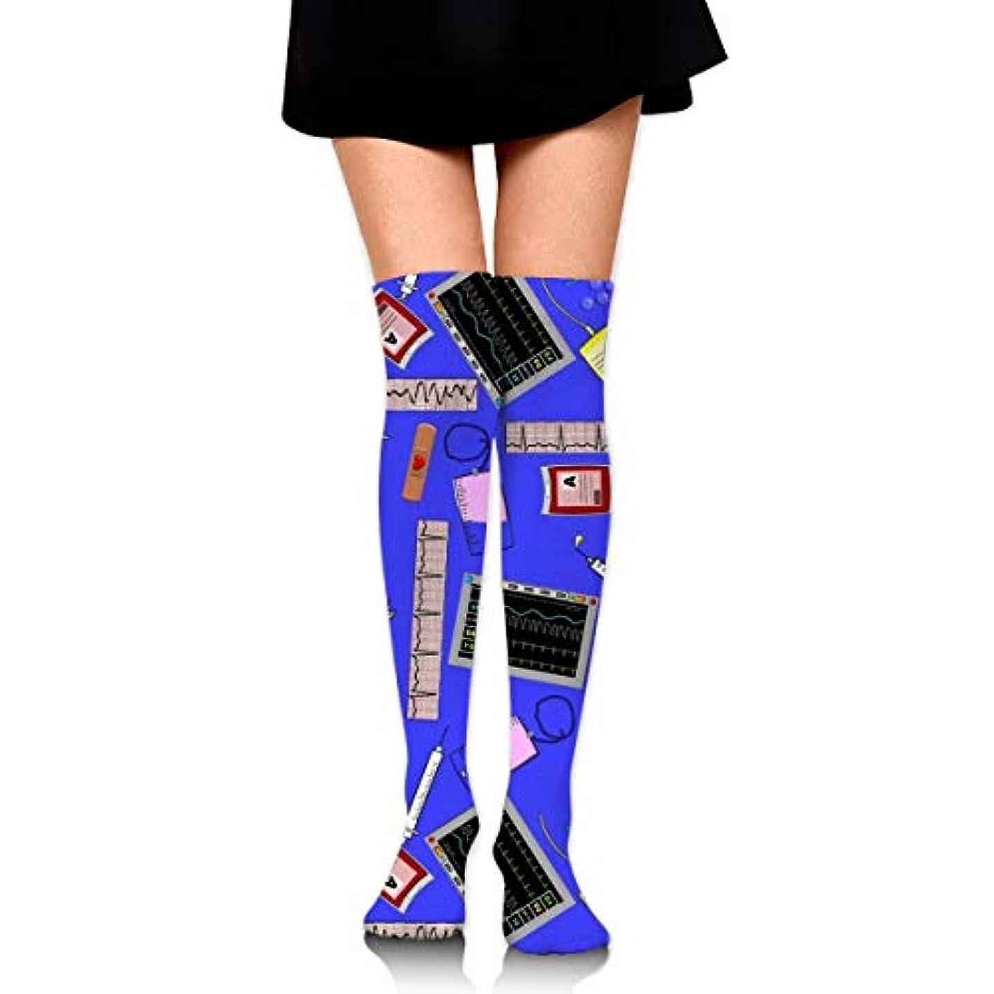 解明資料低下MKLOS 通気性 圧縮ソックス Breathable Extra Long Cotton Thigh High Hospital Nurse Theme Royal Blue Socks Over Exotic Psychedelic...