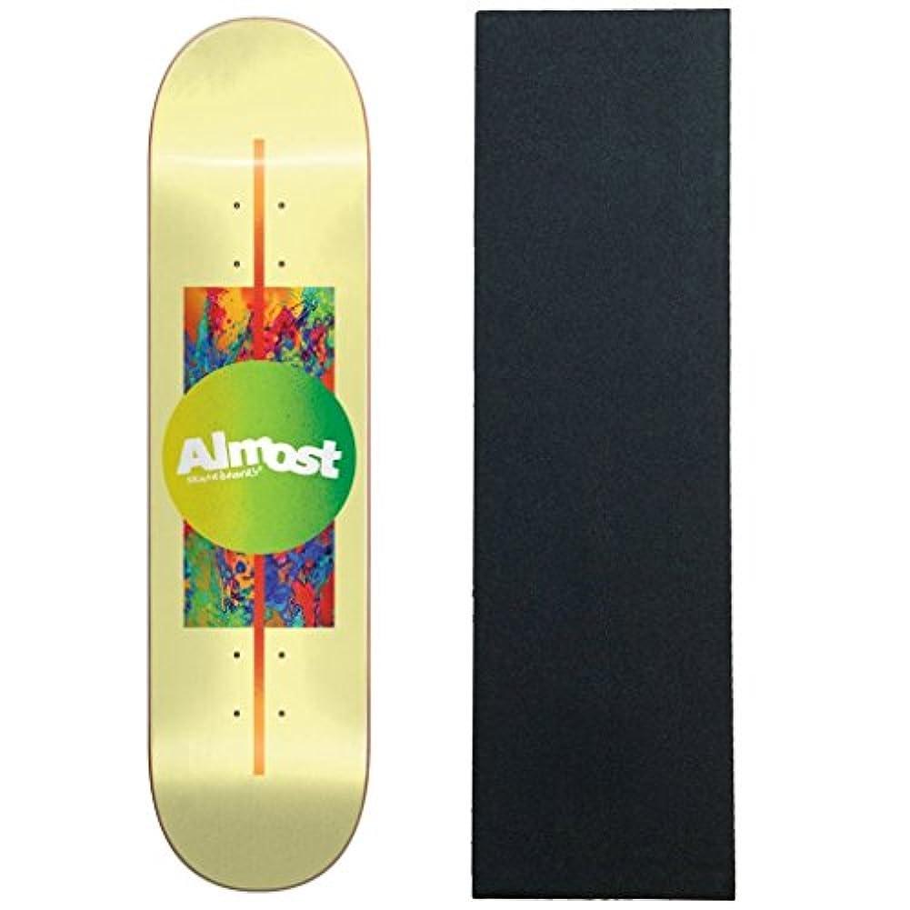 間欠雄弁男らしさAlmost スケートボードデッキ グラデーションイエロー 8.125インチ グリップ付き
