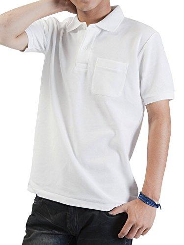 ティーシャツドットエスティー ポロシャツ 半袖 無地 鹿の子 ポケット付き UVカット 5.8oz メンズ ホワイト M
