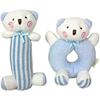 GodrベビーソフトRattle Plush SensoryアクティビティおもちゃブルーBear Boyおもちゃ5.6 in4in – Stuffed Animal for新生児幼児ツイン – 新生児ギフトCribおもちゃ
