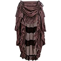 2bcda19c7 Charmian Women's Steampunk Gothic High Low Ruffle Cyberpunk Skirt