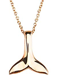 「silverKYASYA」ホエールテールネックレス ゴールド シルバー ローズゴールド ネックレス 鯨の尻尾 クジラ ネックレス レディース メンズ 3色 2サイズ (色:ローズゴールド、サイズ:L)