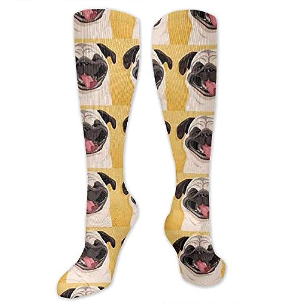 補正の中で順応性靴下,ストッキング,野生のジョーカー,実際,秋の本質,冬必須,サマーウェア&RBXAA Funny Pug Smile Socks Women's Winter Cotton Long Tube Socks Cotton...