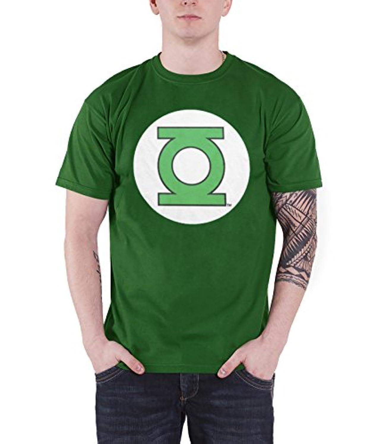 農場ステッチボウリングOfficially Licensed Merchandise Green Lantern Logo Mens T-Shirt (Green)