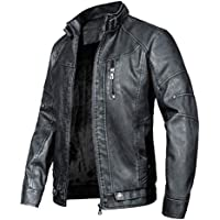 WULFUL Men's Vintage Stand Collar Leather Jacket Motorcycle PU Faux Leather Jacket Fleece Lined Winter Coat