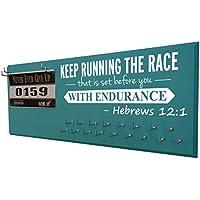Running on the Wall – Race Bib andメダルディスプレイ – Inspirational Bible Verse – Enduranceスポーツ壁マウントメダルホルダーとハンガーforマラソン、トライアスロンand More ターコイズ Hebrews-banner-c-turq