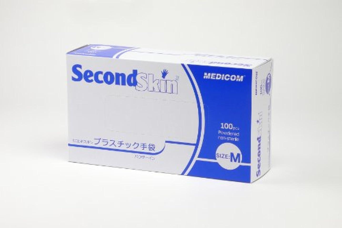 火失業スリムセコンドスキン プラスチック手袋 Mサイズ 100枚入