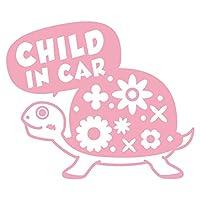 imoninn CHILD in car ステッカー 【シンプル版】 No.53 カメさん (ピンク色)