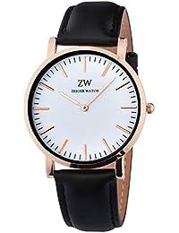 Zeiger 腕時計 メンズ 女性通用 アナログ ウオッチ 30M防水レザーバンド ファッション フォーマル ビジネス 通勤 宴会 平日 時計 (ブラック 1)