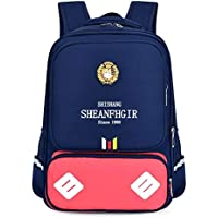 School Bags Backpack Set Teen Girls Bookbag with Pencil Case for Boys Teenagers 14inch Laptop - Big TXOZ (Color : Blue+Red)