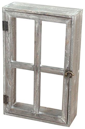 村田屋 アンティーク調 窓枠型の壁掛け棚 バロックウッドウィンドウ グレー 5306