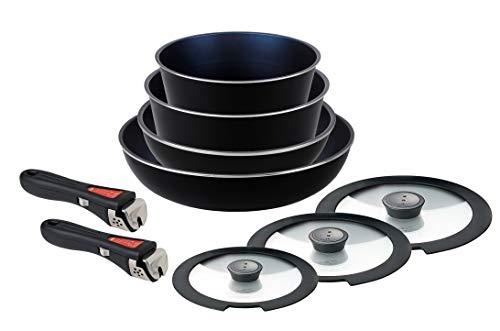 パール金属 フライパン 鍋 9点 セット IH対応 ブラック ダイヤモンドコート 取っ手の取れる セット9 HB-4063