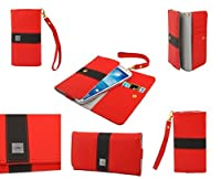DFV mobile - Cover premium with color line design with card case for > landvo l550, color red