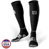 MudGear Compression Socks - Men's and Women's Running Socks Made in USA for Outdoor Sports Performance & Recovery - 1 Pair (Black/Gray Med)