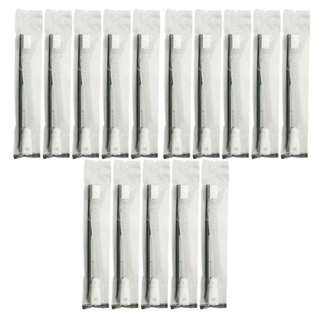 関与するシャットインサート業務用 使い捨て歯ブラシ チューブ歯磨き粉(3g)付き ブラック 15本セット│ホテルアメニティ 個包装タイプ