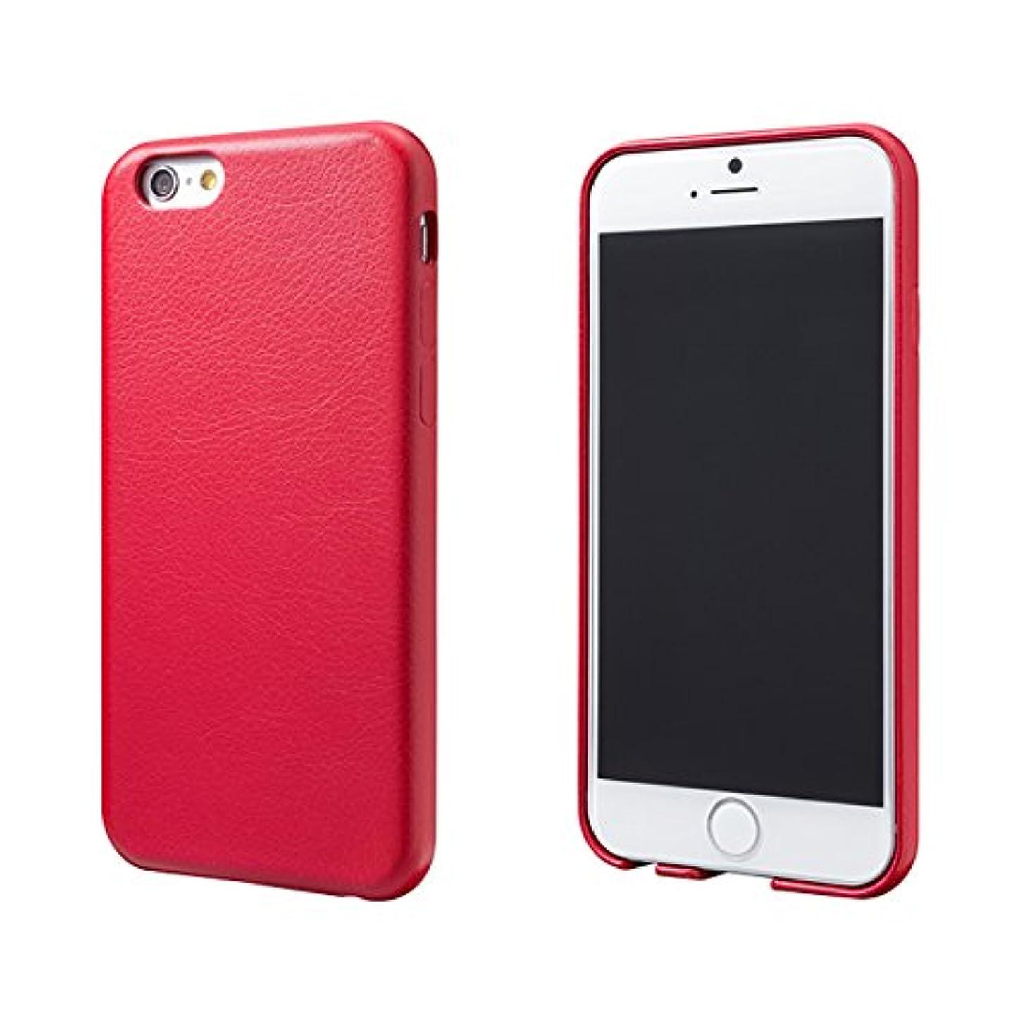 サイレント中央値先見の明Super Thin PU Leather Case for iPhone 6(レッド)