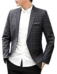 b9abbb4f98dbb [FOMANSH] テーラードジャケット メンズ スリム チェック柄 1つボタン 大きいサイズ ビジネス スーツ