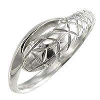 [スカイベル] 天然ダイヤモンド 10金ホワイトゴールド リング 蛇 レディース 約0.01ct リングサイズ 9.5号