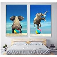 北欧のクリエイティブ象の風船装飾壁写真用子供キャンバス絵画ポスター家の装飾60×80センチ×2(フレームなし)