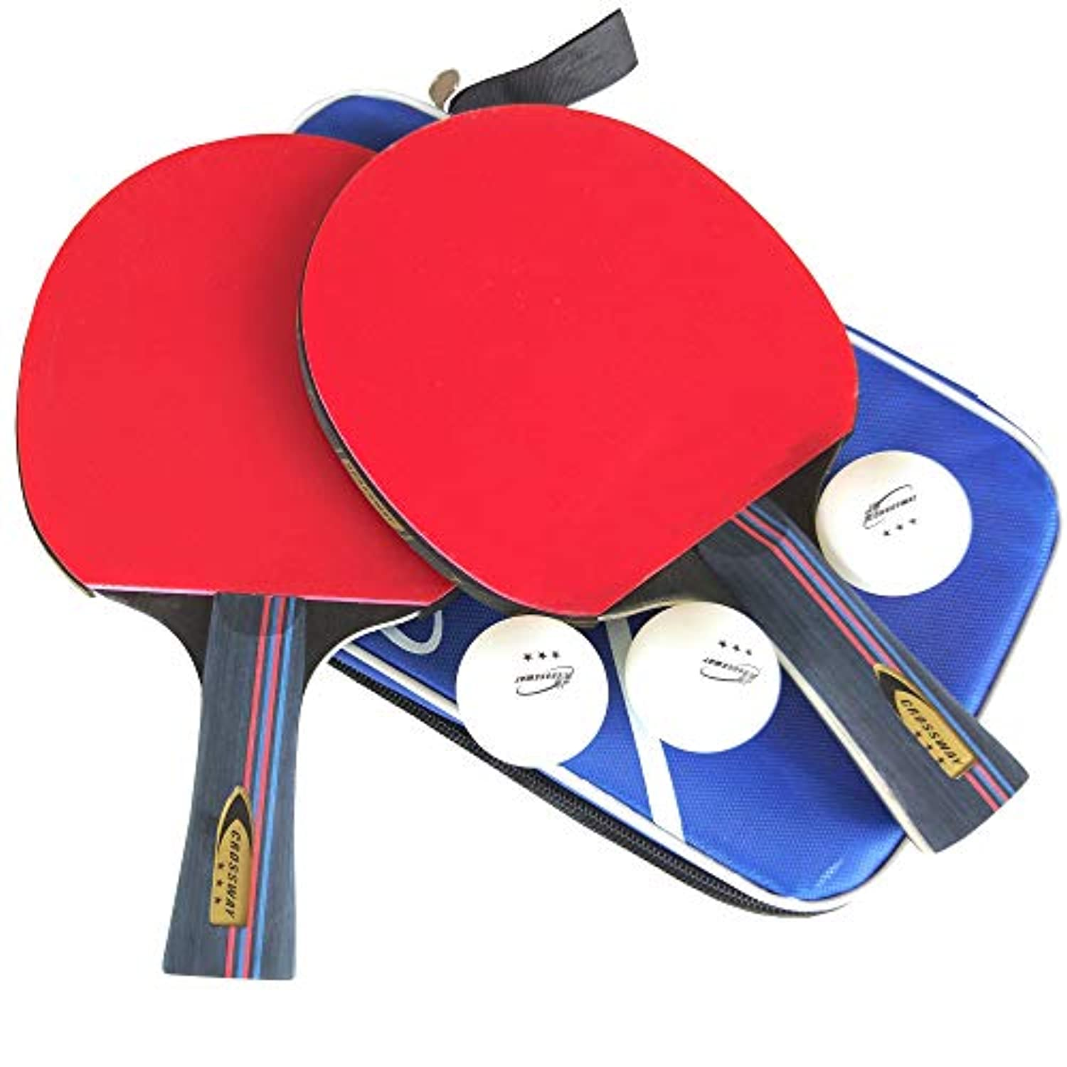 ahomie 2パックテーブルテニスセット、Ping Pong Paddles Rackets withソフトスポンジゴム、3 Balls and Carry Bag Included、3つ星