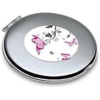 HuaQingPiJu-JP ミニバタフライパターンラウンドメタル小さなガラスミラーサークルクラフト装飾化粧品アクセサリー