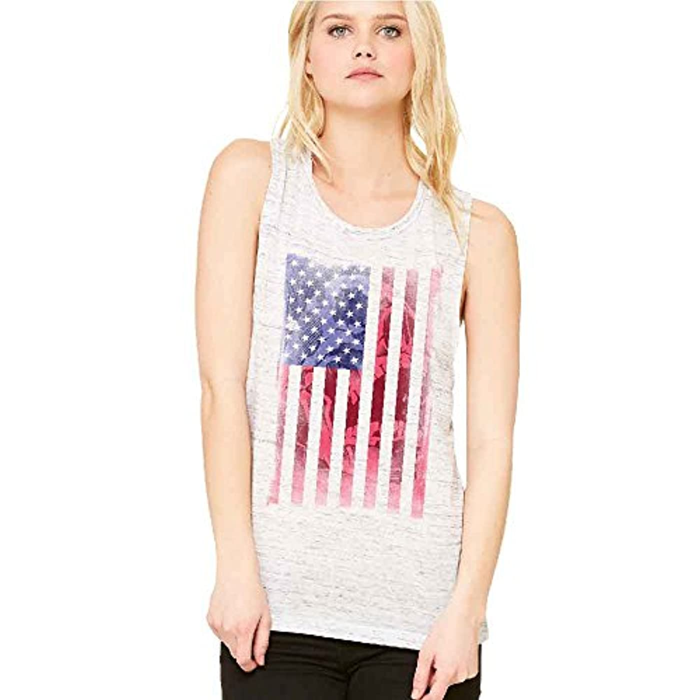 有毒なドーム非難する愛国アメリカ国旗スカルパターンレディースマッスルタンク4th of July Tee