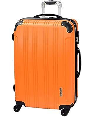 S型 オレンジ / メッシュQueendom TSAロック搭載 スーツケース キャリーバッグ (1~3日用) 超軽量 機内持込 国内/国際線持込可能