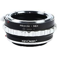 K&F Concept レンズマウントアダプター KF-NGE (ニコンFマウント(Gタイプ対応)レンズ → ソニーEマウント変換) 絞りリング付き