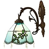 Mediterranean Blue Wall Sconce Lighting, Stained Glass Wall Lamp for Bedroom Living Room Aisle Corridor, Bathroom Mirror Headlight, Max 40W, E27