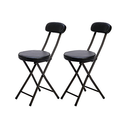 VECELO (べセロ) 折りたたみチェア/パイプ椅子 (背もたれ付) ブラック 2脚セット