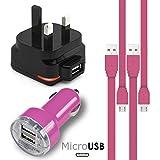 ホトピンク Hot Pink MicroUSBマルチチャージャーパック4個1 x 1000 mAh 3ピンUKメインズアダプタープラグx 2 FLAT 1.1メーターUSB 2.0充電ケーブルSony Xperia C4 E5303 E5306 E5353用デュアルポートUSB 2.1 / 1...