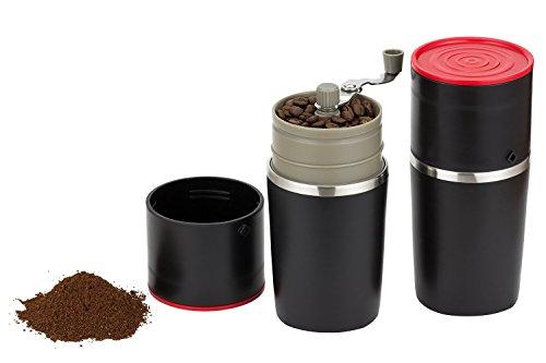 【Ksizen ショップ】手動式コーヒーミル 便携一体式 マグカップ付き 漏斗状のステンレスのストレーナー 家庭用 贈り物