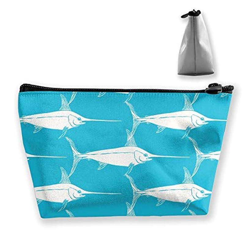 きしむ法廷口述するメカジキ 魚柄 化粧ポーチ メイクポーチ ミニ 財布 機能的 大容量 ポータブル 収納 小物入れ 普段使い 出張 旅行 ビーチサイド旅行