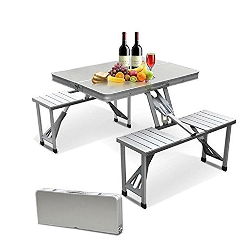 Pananaアウトドア テーブル ピクニック 折りたたみ 収納式アルミレジャーチェアセット ベンチ バーベキュー 高さが調整調節