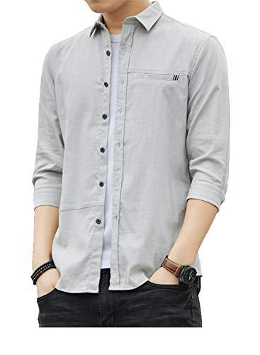 トップス ネルシャツ 春 秋 メンズ ワイシャツ カジュアル gray 2XL