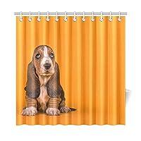 LKCDNG シャワーカーテン 浴室カーテン バスカーテン 風呂 防水 防カビ 180x180cm C形カーテンリング付属 可愛い動物 犬