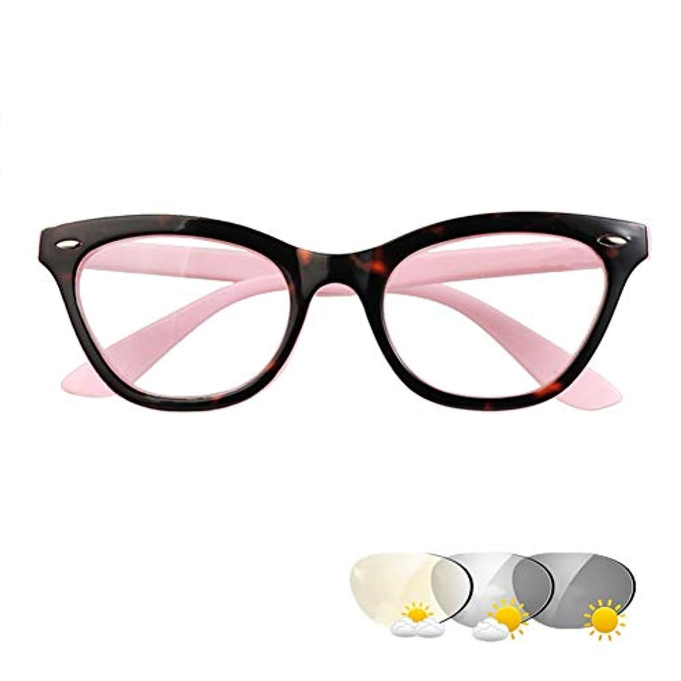 インテリジェントなフォトクロミック老眼鏡、プログレッシブ多焦点サングラス、レトロなファッションの男性と女性のアンチブルーグラス、遠くと近く