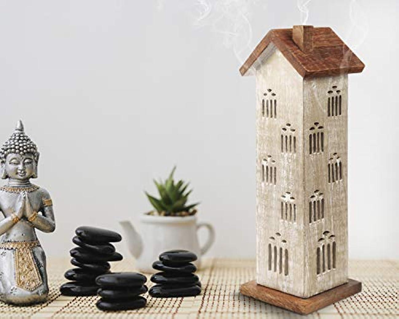 剥離変形する住居storeindya 感謝祭ギフト 木製タワーハウスお香ホルダー アッシュキャッチャー付き 装飾的 無料 オーガニックお香3本
