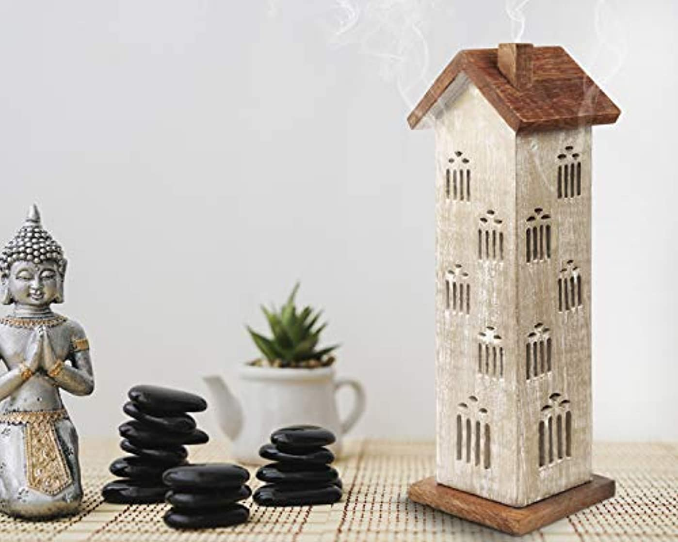 報いるお手伝いさん再開storeindya 感謝祭ギフト 木製タワーハウスお香ホルダー アッシュキャッチャー付き 装飾的 無料 オーガニックお香3本