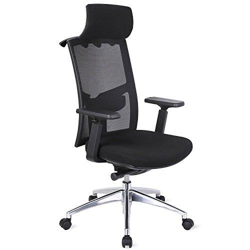 CEITURA オフィスチェア デスクチェア メッシュチェア メッシュ ハイバック ロッキング 角度固定 可動式肘掛け 可動式枕付 静音キャスター (ブラック3)
