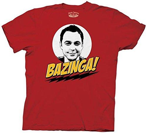 ビッグバンセオリー バジンガ ウィズ シェルドン メンズ レッド Tシャツ S