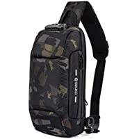 H HIKKER-LINK Mens Chest Sling Bag Anti-Theft Shoulder Crossbody Pack with USB