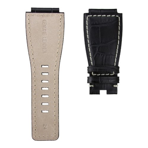 StrapJunkie 本革 カーフレザー Bell & Ross ベル&ロス BR01 BR03 モデル対応 時計替えベルト アリゲーター型押し ステッチ仕上げ 時計バンド ストラップ 24mm ブラック&アイボリー