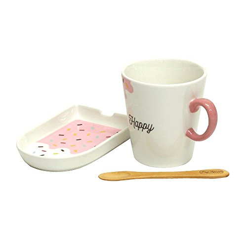 小倉陶器 マグカップ プレート・スプーン付き ポップアイスキャンディ ストロベリー 直径7.9cm 147978